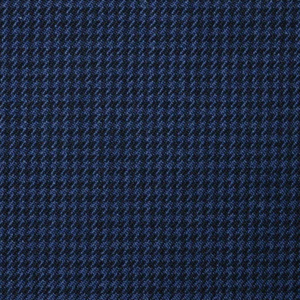 Bright Navy Blue and Dark Navy Blue Small Dogtooth Check Super 100's All Wool Suiting By Holland & Sherry