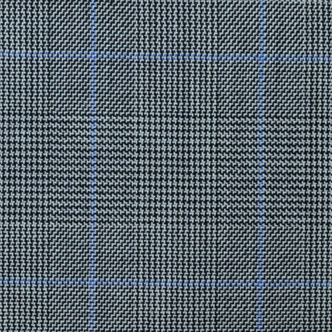 Light Grey with Blue Glen Check Super 100's All Wool Suiting By Holland & Sherry