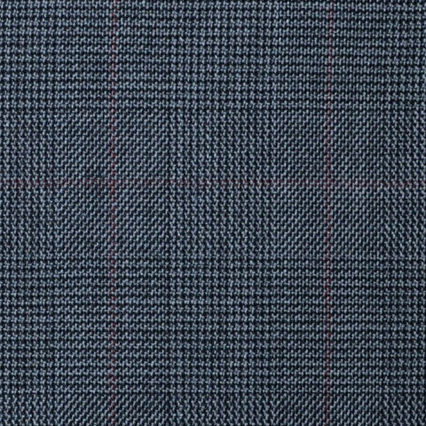 Dark Grey with Red Glen Check Super 100's All Wool Suiting By Holland & Sherry