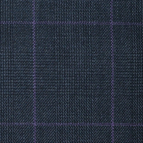 Dark Grey with Purple Glen Check Super 100's All Wool Suiting By Holland & Sherry
