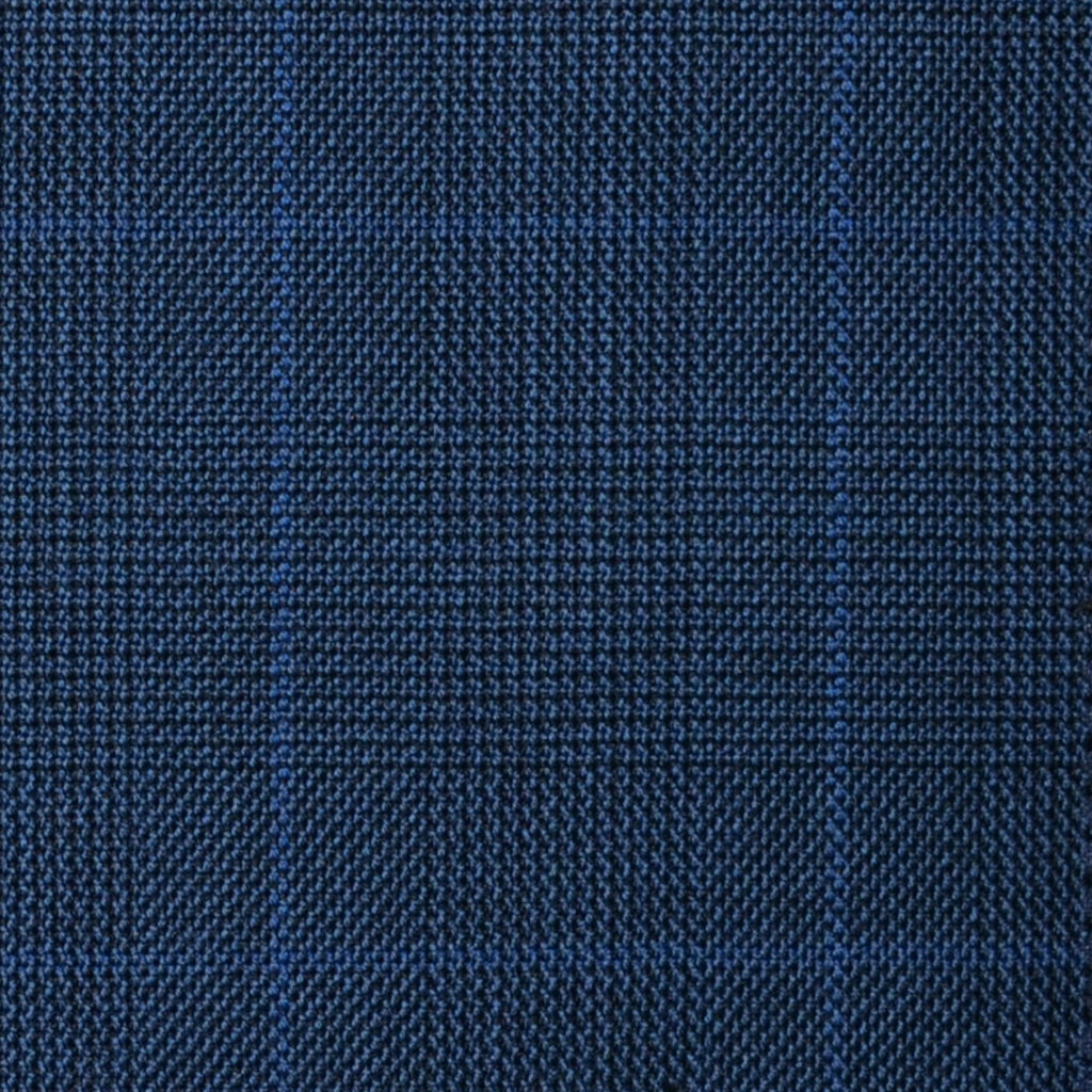 Bright Navy Blue with Royal Blue Glen Check Super 100's All Wool Suiting By Holland & Sherry
