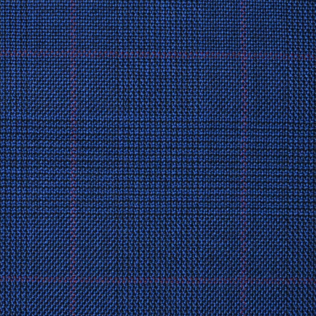 Bright Navy Blue with Wine Red Glen Check Super 100's All Wool Suiting By Holland & Sherry