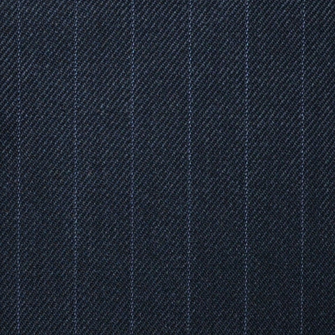 "Dark Grey Muted 5/8th"" Stripe Super 100's All Wool Suiting By Holland & Sherry"
