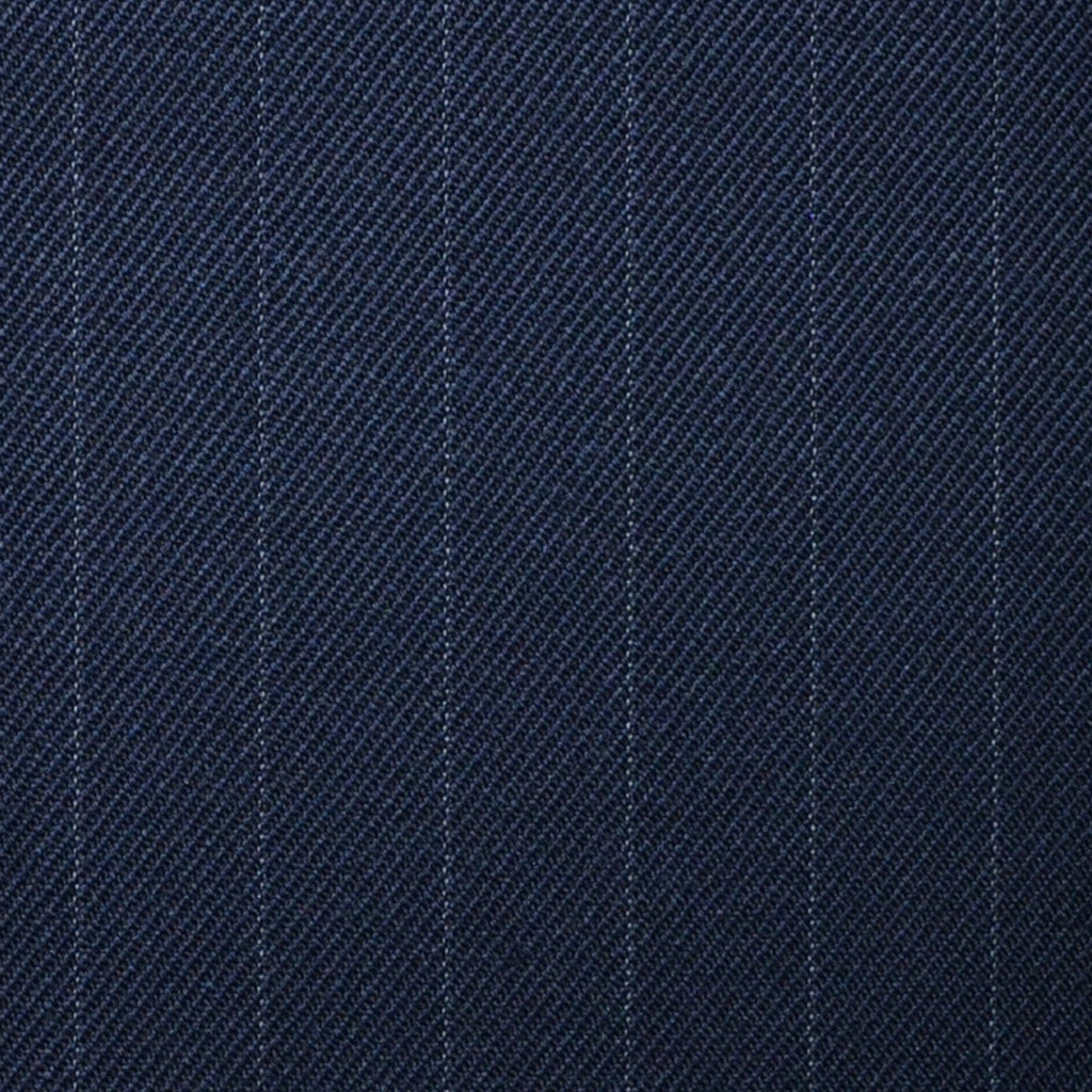 "Navy Blue Muted 5/8th"" Stripe Super 100's All Wool Suiting By Holland & Sherry"