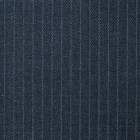 "Dark Grey Muted 1/4"" Narrow Stripe Super 100's All Wool Suiting By Holland & Sherry"