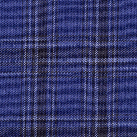 Royal Blue with Dark Navy Plaid Check Holland & Sherry Jacketing