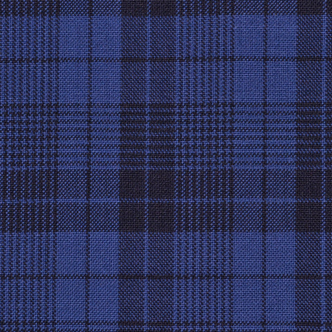 Royal Blue with Dark Navy Glen Check Holland & Sherry Jacketing