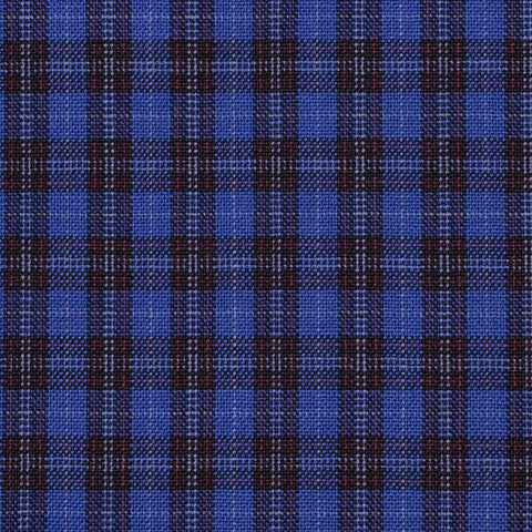 Royal Blue with Dark Navy and Red Plaid Check Holland & Sherry Jacketing