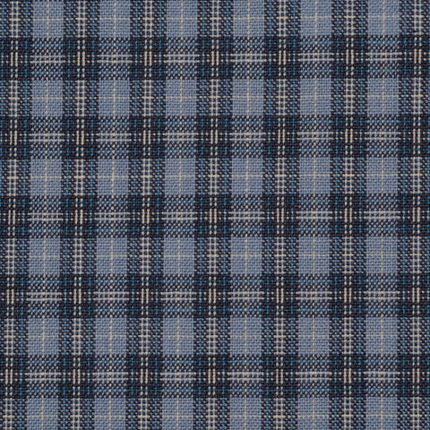 Blue with Navy and Ecru Small Plaid Check Holland & Sherry Jacketing