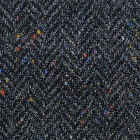 Dark Grey Herringbone All Wool Irish Donegal Tweed