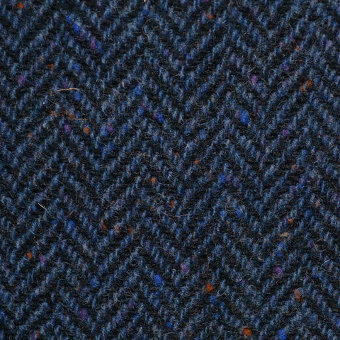 Dark Blue Herringbone All Wool Irish Donegal Tweed