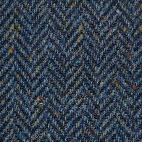 Medium Blue Herringbone All Wool Irish Donegal Tweed