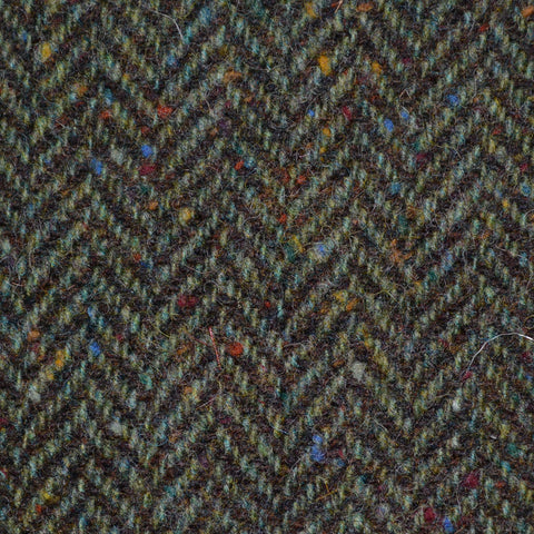 Green/Brown Herringbone All Wool Irish Donegal Tweed