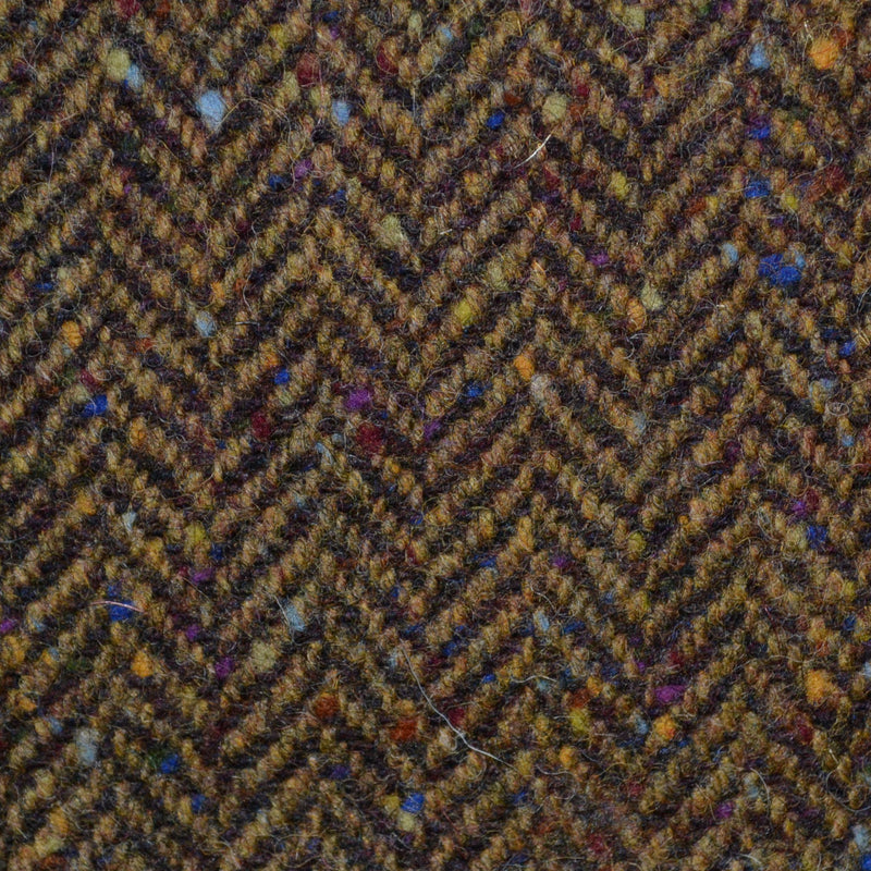 Medium Brown Herringbone All Wool Irish Donegal Tweed