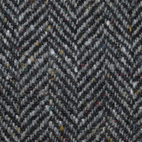 Medium Grey and Dark Grey Herringbone All Wool Irish Donegal Tweed Coating