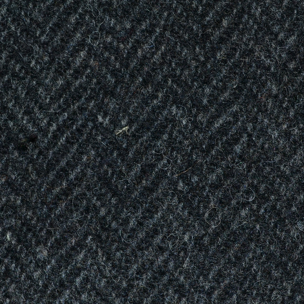 Dark Grey and Black Herringbone All Wool Irish Donegal Tweed Coating