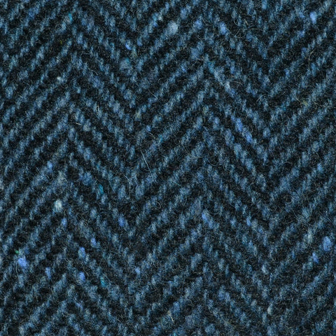 Medium Blue and Navy Blue Herringbone All Wool Irish Donegal Tweed Coating