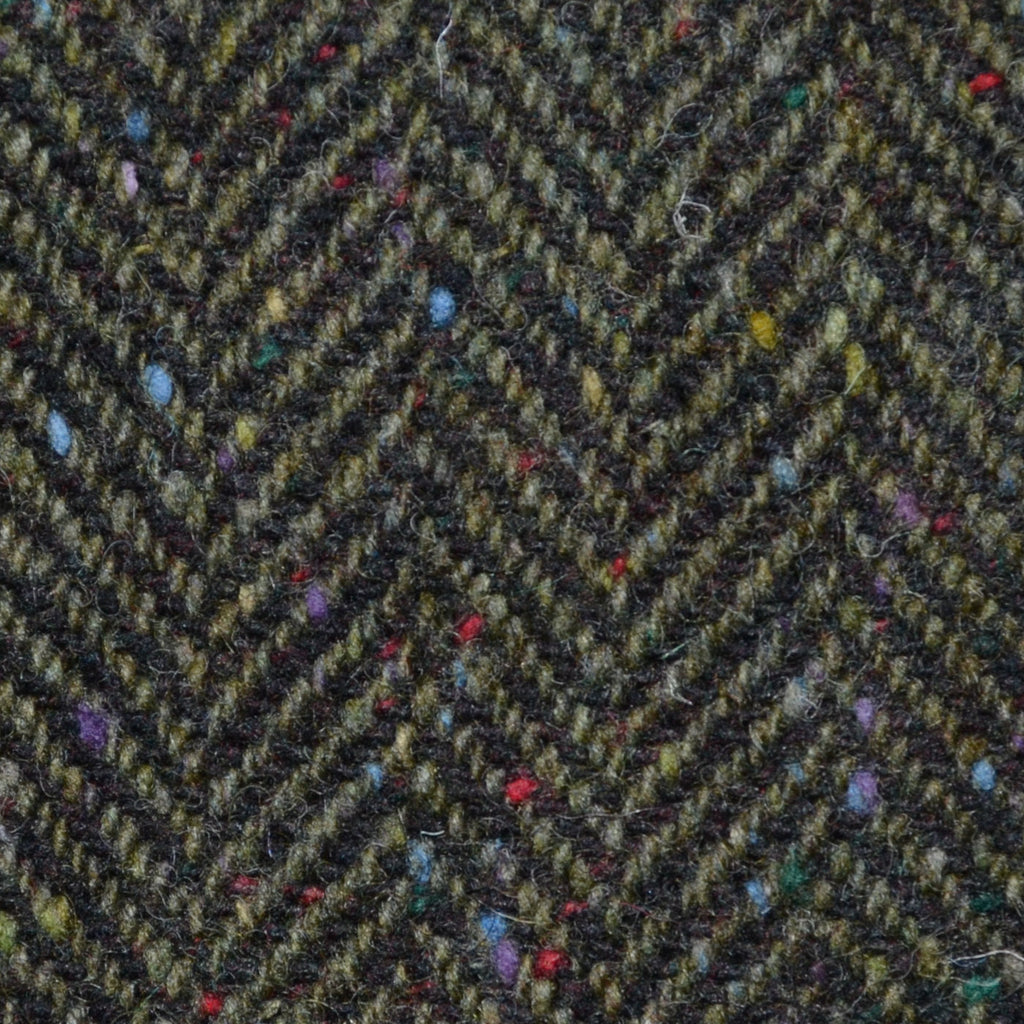 Moss Green and Dark Green Herringbone All Wool Irish Donegal Tweed Coating