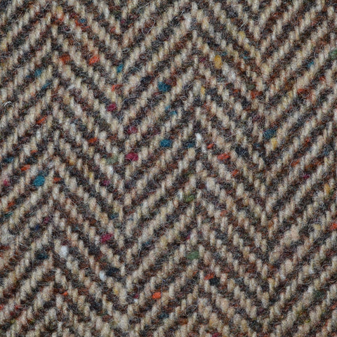 Light Brown and Medium Brown Herringbone All Wool Irish Donegal Tweed Coating