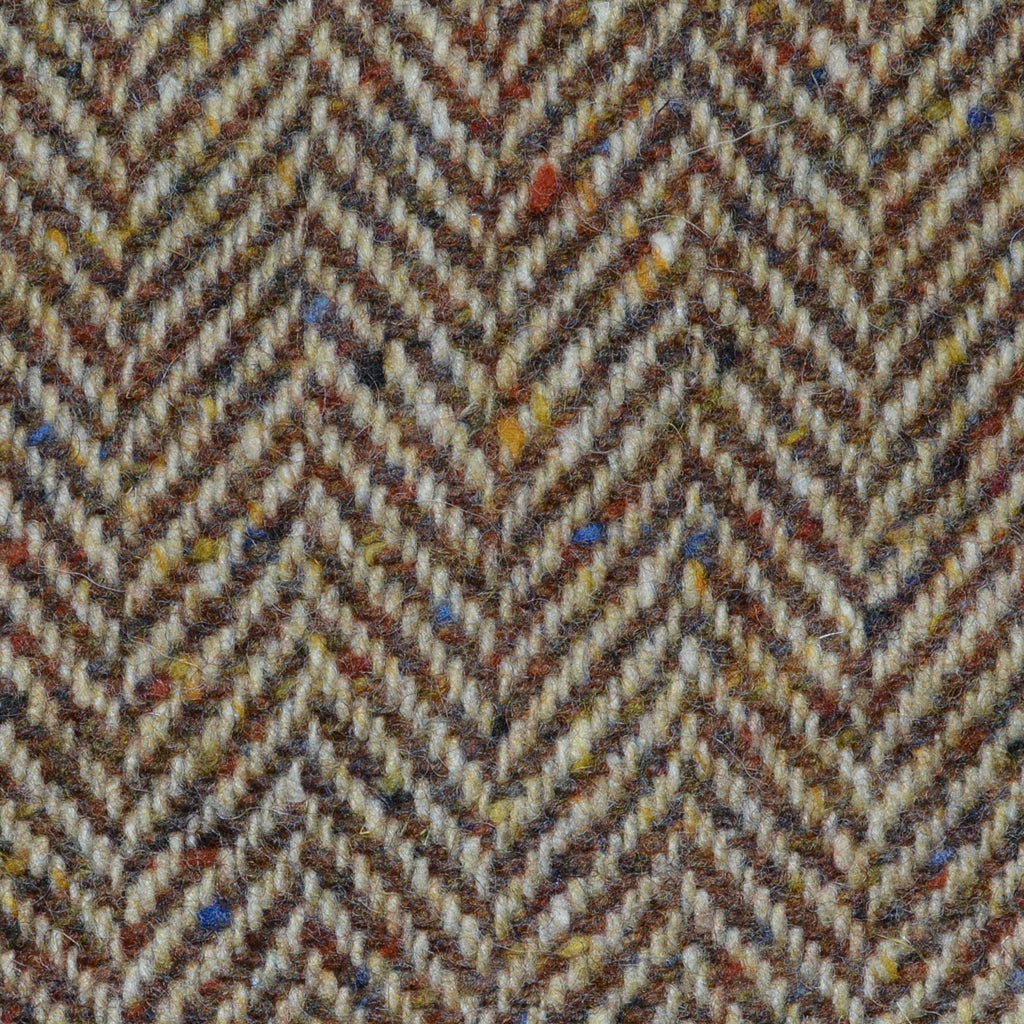 Light Brown and Tan Herringbone All Wool Irish Donegal Tweed Coating