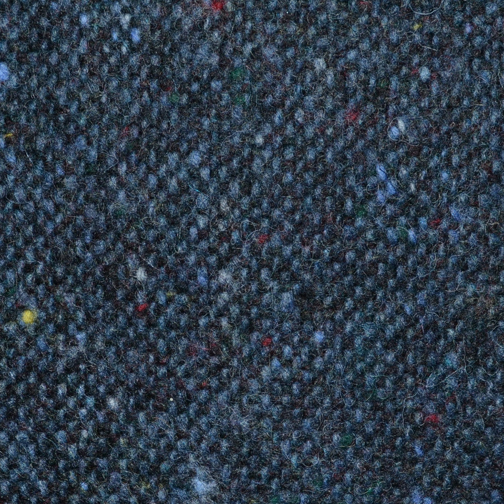 Medium Blue and Navy Blue All Wool Irish Donegal Tweed Coating