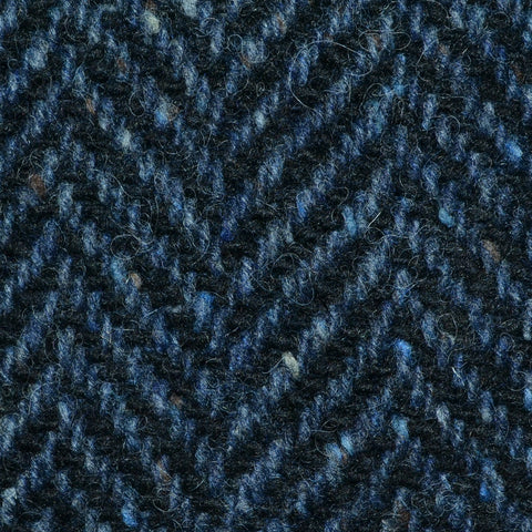 Medium Blue and Navy Blue Wide Herringbone All Wool Irish Donegal Tweed Coating