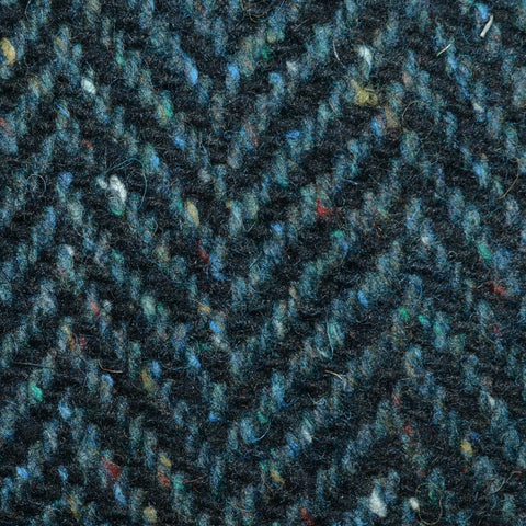 Sea Green and Navy Blue Wide Herringbone All Wool Irish Donegal Tweed Coating