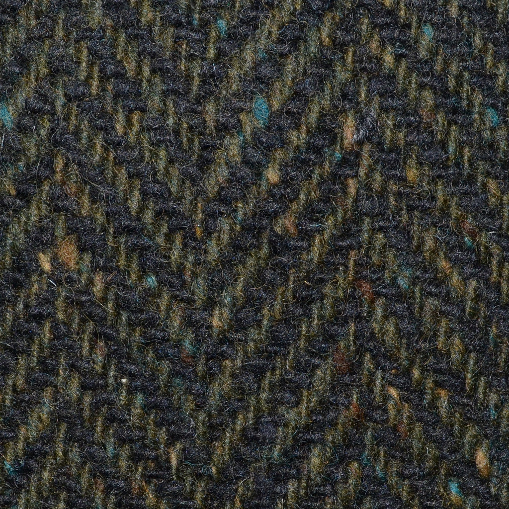 Moss Green and Dark Brown Wide Herringbone All Wool Irish Donegal Tweed Coating