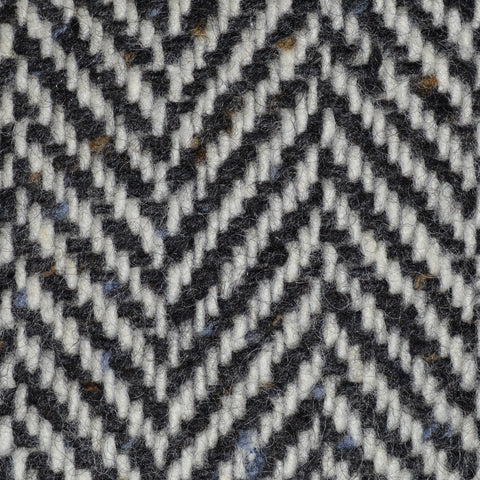 Ecru and Dark Grey Wide Herringbone All Wool Irish Donegal Tweed Coating