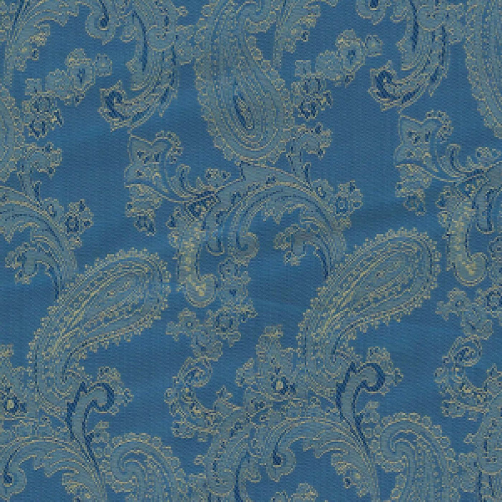 Blue & Gold Paisley Poly/Viscose Lining