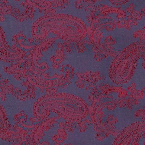 Steel Blue & Red Paisley Poly/Viscose Lining