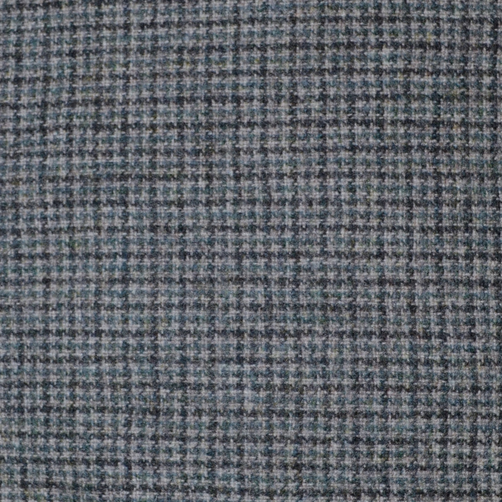 Medium Grey with Muted Blue & Dark Grey Small Box Check Wool - Sold Per Metre