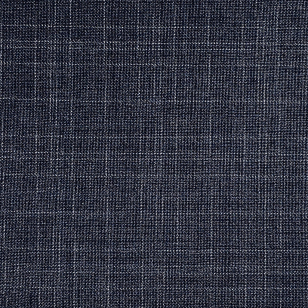 Medium Blue/Grey Subtle Fleck Check All Wool Suiting - Sold Per Metre
