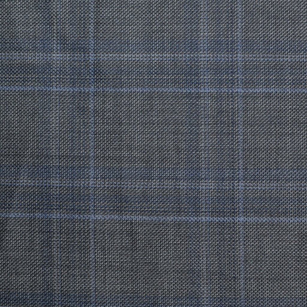 Medium Grey with Subtle Blue Check All Wool Suiting - Sold Per Metre