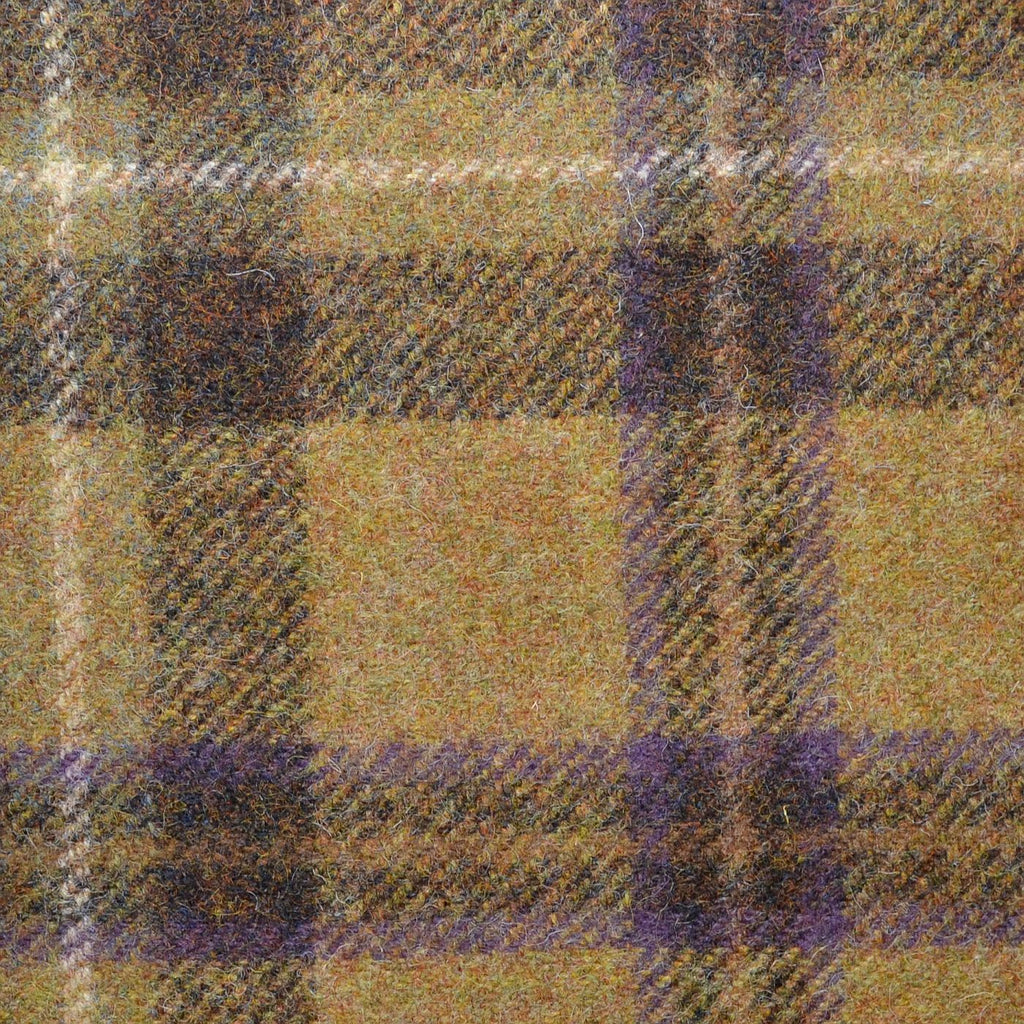 Gold with Dark Brown & Purple Plaid Check Coating