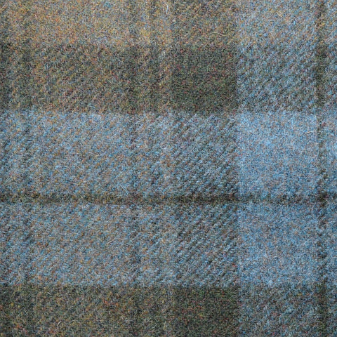 Blue with Brown Plaid Check Coating