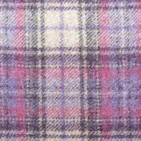 Purple with Beige & Charcoal  Plaid Check Coating