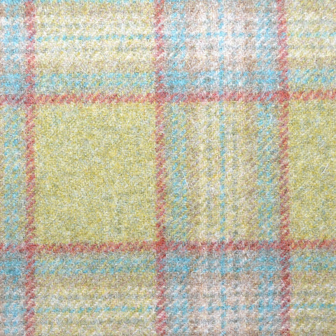 Green with Beige, Red, Pink and Grey Plaid Check Coating