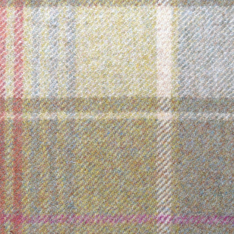 Green with Beige & Pink Plaid Check Coating