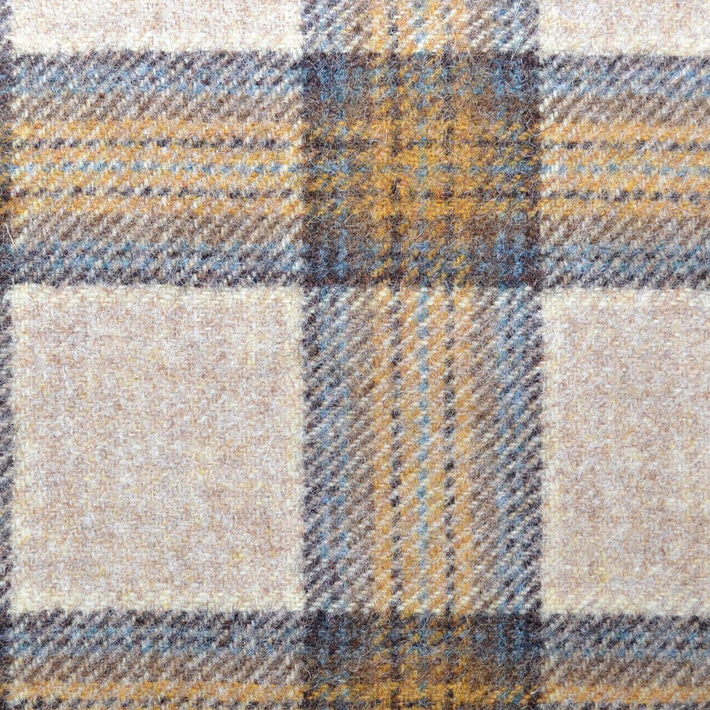 Beige with Brown, Tan & Blue Plaid Check Coating
