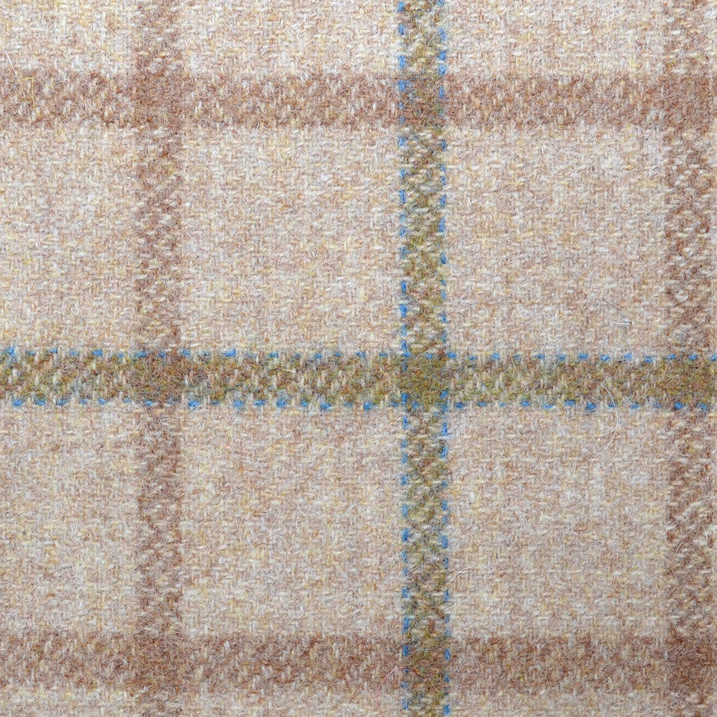 Beige with Tan & Green Plaid Check Coating