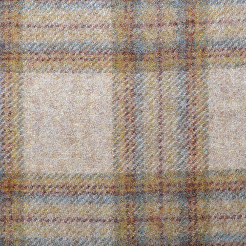 Beige with Green, Brown & Blue Plaid Check Coating