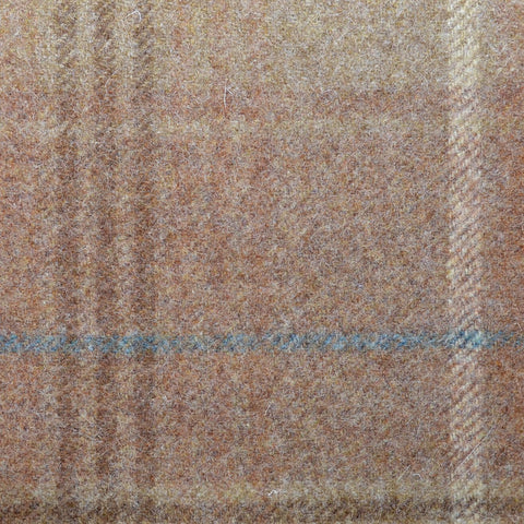 Brown with Beige & Blue Plaid Check Coating