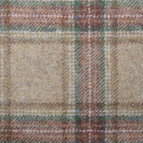 Light Brown with Brown & Green Plaid Check Coating