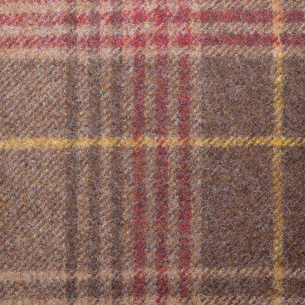 Brown with Cocoa & Red Plaid Check Coating
