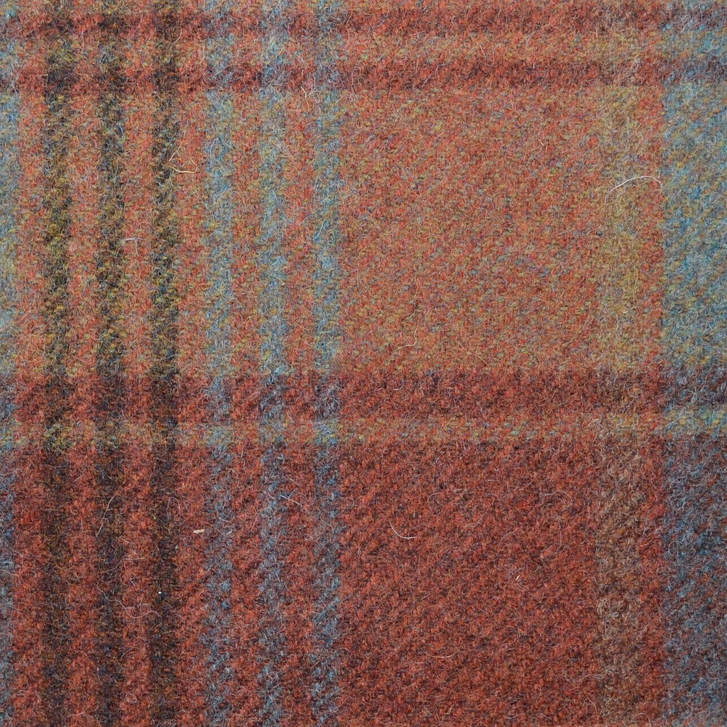Chestnut Brown with Brown & Blue Plaid Check Coating