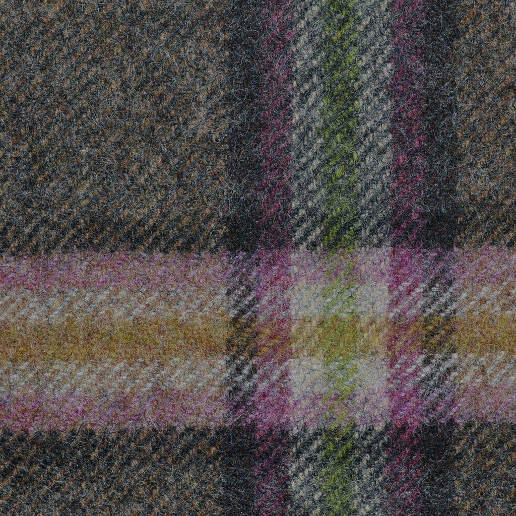 Brown with Pink, Beige and Green Plaid Check Coating