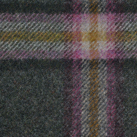 Moss Green with Pink, Beige and Green Plaid Check Coating