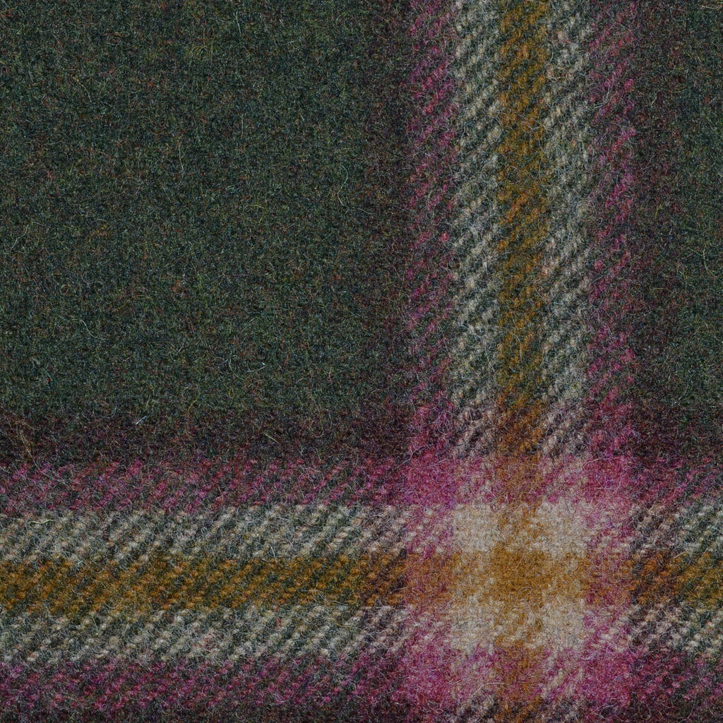 Dark Green with Pink, Beige and Green Plaid Check Coating