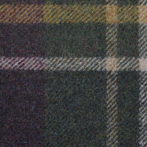 Dark Green with Brown, Beige and Burgundy Plaid Check Coating